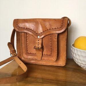 Artisan Handtooled Leather Crossbody Messenger Bag